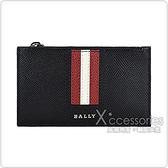 BALLY TENLEY銀字LOGO紅白紅條紋牛皮4卡拉鍊卡片夾(黑)