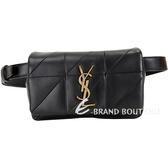 YSL Saint Laurent JAMIE 羊皮絎縫胸肩背/腰包(黑色) 1920372-01