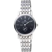 Olympia Star奧林比亞 小秒針女錶-黑x銀/28mm 58070LS黑