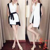 兩件套裝短褲夏裝西裝外套很仙西裝韓版黑白配【奈良優品】