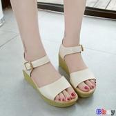 【貝貝】楔型涼鞋 涼鞋 厚底 鬆糕鞋 坡跟 一字帶扣 涼鞋
