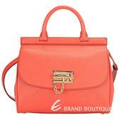DOLCE & GABBANA 金屬栓鎖飾兩用提包(橘紅色) 1420532-73
