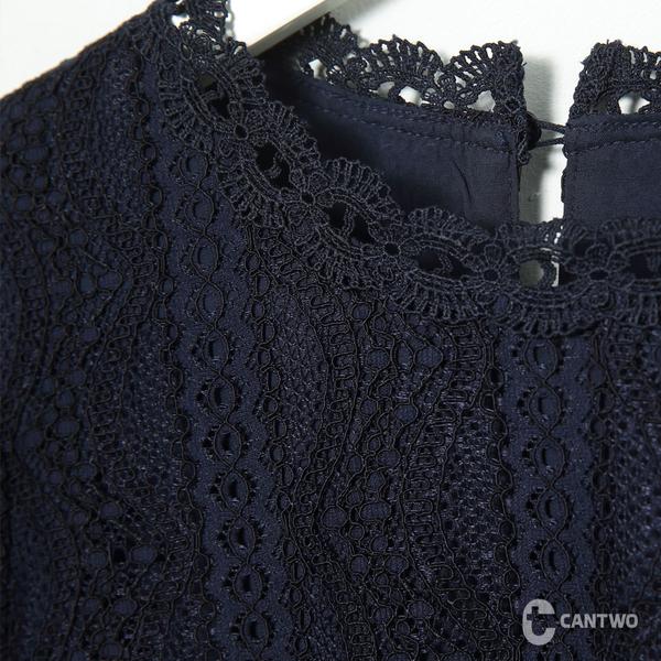 CANTWO復古宮廷蕾絲拼接上衣-共兩色