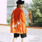 開衫男 中國風外套男七分袖仙鶴襯衫防曬衣薄日繫和服開衫情侶潮   傑克型男館
