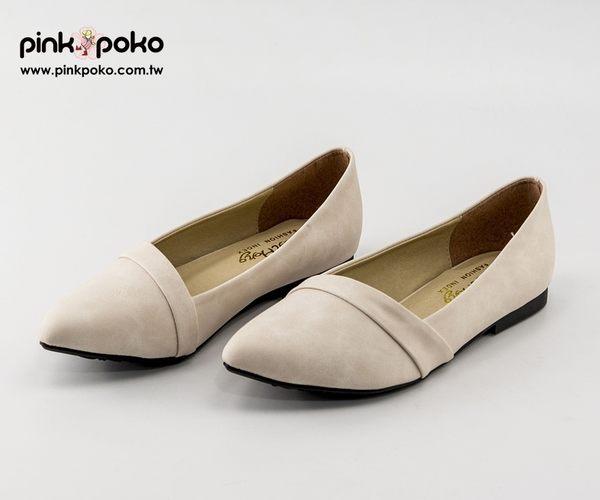 包鞋☆PINKPOKO粉紅波可☆氣質女伶微尖頭平底娃娃鞋~2色#1115