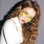 韓國個性貓眼太陽眼鏡女圓臉復古原宿墨鏡女潮海洋片眼鏡 〖korea時尚記〗