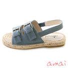 amai雙層寬帶釦飾草編休閒涼鞋 牛仔藍