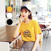 T恤 圓領彩虹印花短袖T恤OU13421-創翊韓都
