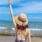 草帽女夏天日系小清新遮陽帽防曬大帽檐百搭太陽漁夫帽海邊沙灘帽  【端午節特惠】