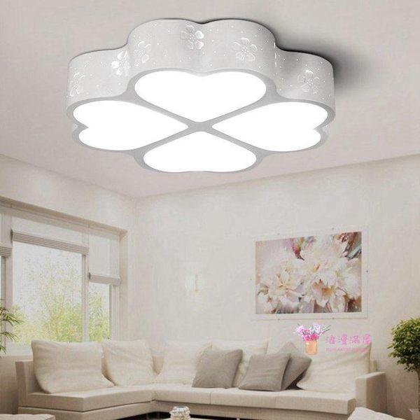 吸頂燈 LED吸頂燈現代溫馨簡約四葉草創意圓形鐵藝臥室燈客廳燈具T