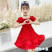 女童雪紡裙子夏季碎花連身裙洋裝韓版薄款【奇趣小屋】