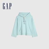 Gap女裝 碳素軟磨系列 Logo法式圈織連帽休閒上衣 792132-柔和藍色