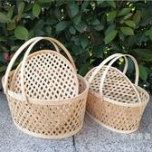 購物籃 收納籃土雞蛋籃帶蓋水果包裝籃竹製鏤空小竹籃禮品籃【免運】