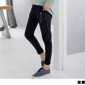 《BA2684》牛仔超彈拉鍊剪裁造型腰鬆緊寬鬆哈倫褲.2色 OrangeBear