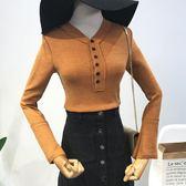 冬季款時尚簡約復古多紐扣v領修身針織上衣女