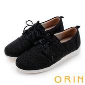 ORIN 潮流同步 百搭素面綁帶休閒平底鞋-黑色