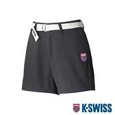【超取】K-SWISS Cotton Twill Shorts W/belt棉質休閒短褲-女-黑