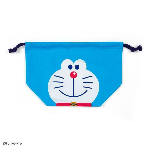 小禮堂 哆啦A夢 日製 棉質束口便當袋 束口手提袋 小物袋 縮口袋 (藍白 大臉) 4550337-74756