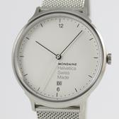 【萬年鐘錶】MONDAINE 瑞士國鐵Helvetica 聯名腕錶  米蘭鋼鍊編織錶帶  38mm XM-1L2210M