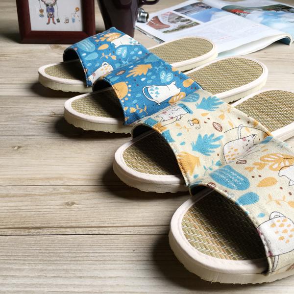 小時光-真草蓆拖-草蓆室內拖鞋-6雙超值組