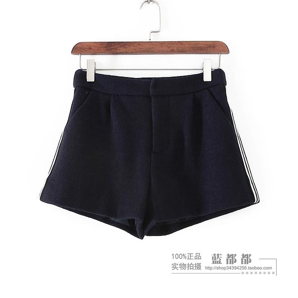 [超豐國際]紫冬裝女裝藏青色簡約時尚百搭純色短褲 29155(1入)
