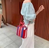 ■現貨在台■專櫃55折■Balenciaga 全新真品513988 BAZAR SHOPPER XXS 藍白紅配色條紋兩用包