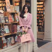 【新年鉅惠】2018秋冬復古甜美森女中長款西裝領毛呢外套喇叭袖修身大衣女