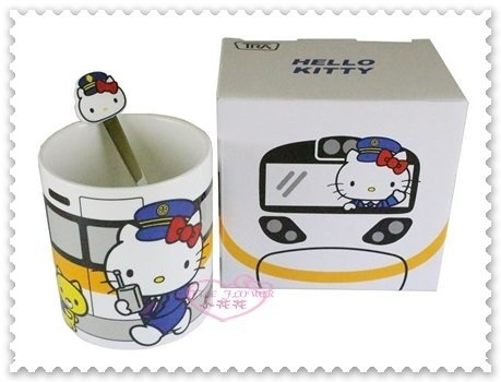 ♥小花花日本精品♥Hello Kitty 新太魯閣號 咖啡杯 陶瓷杯 附木蓋 馬克杯 附湯匙 11277309
