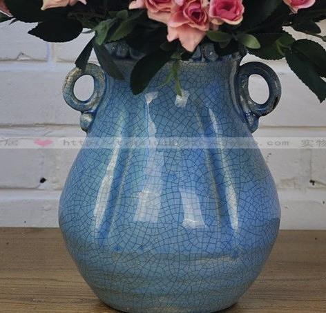 【協貿國際】地中海風格簡約藍色雙耳桌面花瓶
