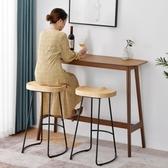 吧台桌 吧台桌實木高腳桌子家用吧台圓桌創意簡約吧台組合靠墻長條酒吧台城市