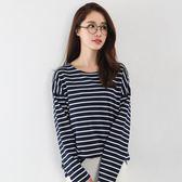 條紋T恤女長袖新款寬鬆韓版大碼上衣純棉百搭加厚打底衫 米蘭街頭