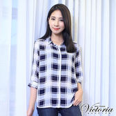 Victoria 雪紡七分袖襯衫-女-藍白格