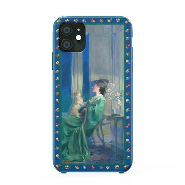全型號 蘋果iphone13 三星手機殼12Pro/11Promax/Xr/Xs/78 防摔軟殼 藍色油畫抱狗女人