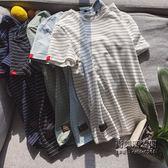 (交換禮物)條紋短袖T恤男士加肥大尺碼白色半袖體恤正韓潮流男