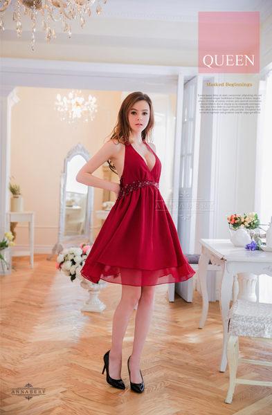 (特價) 大尺碼Annabery暗紅深V雙層禮服式睡衣 (OS shop)