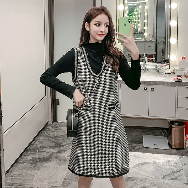 VK旗艦店 韓國風立領衫V領千鳥格格紋裙套裝長袖裙裝