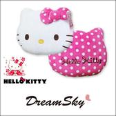 正版 HELLO KITTY 大臉 暖手 抱枕 圓點 圖案 靠墊 凱蒂貓 可愛 造型 三麗鷗 授權 DreamSky