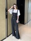 吊帶褲女兩件套裝洋氣減齡韓版寬鬆闊腿春秋2021年新款連身衣褲子 果果輕時尚