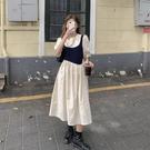 假兩件連身裙 烏77在逃公主假兩件連身裙法式修身顯瘦壓褶襯衣裙斜排扣大擺裙女 萬聖節狂歡
