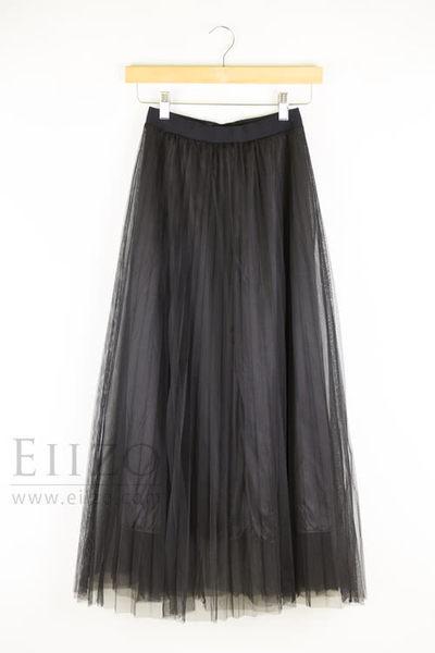 【EIIZO】氣質甜美百褶長紗裙(黑)