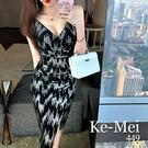 克妹Ke-Mei【ZT65201】性感女神V領心機開叉銀蔥中長禮服洋裝