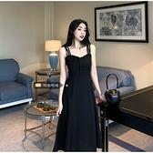 吊帶洋裝 大碼夏季2021新款胖mm法式溫柔風黑色吊帶裙女收腰顯瘦V領連身裙 小天使 99免運