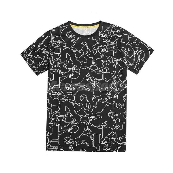 Asics 短袖T恤 All Over Print T-Shirts 黑 白 男款 短T 印花 運動休閒 【ACS】 2191A225001