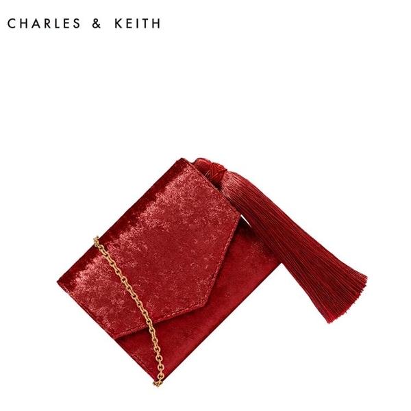 錢包 CHARLES&KEITH 短款錢包 CK6-10840110 復古流蘇裝飾信封款錢包-快速出貨FC