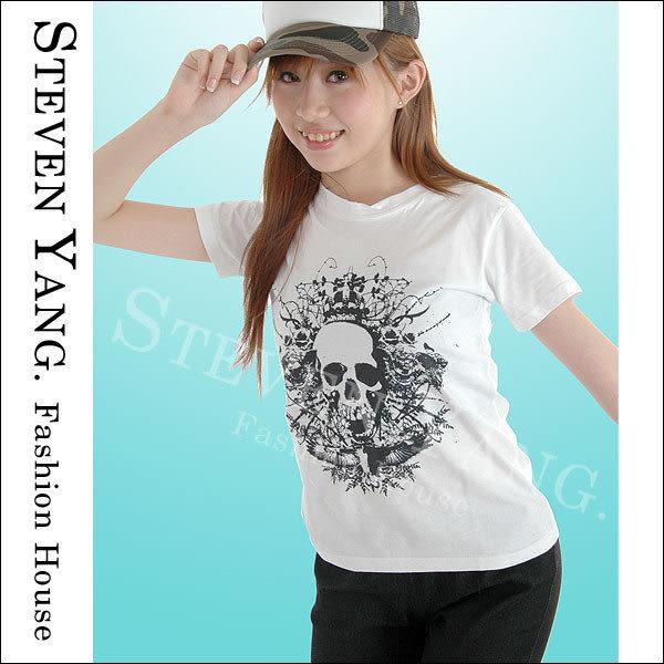 《STEVEN YANG》日系街頭嘻哈CL004 老鷹皇冠骷髏頭 短版圓領棉T 時尚個性 白色