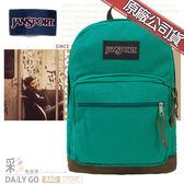 JANSPORT後背包包帆布包15吋筆電包大容量JS-43969-01H孔雀藍