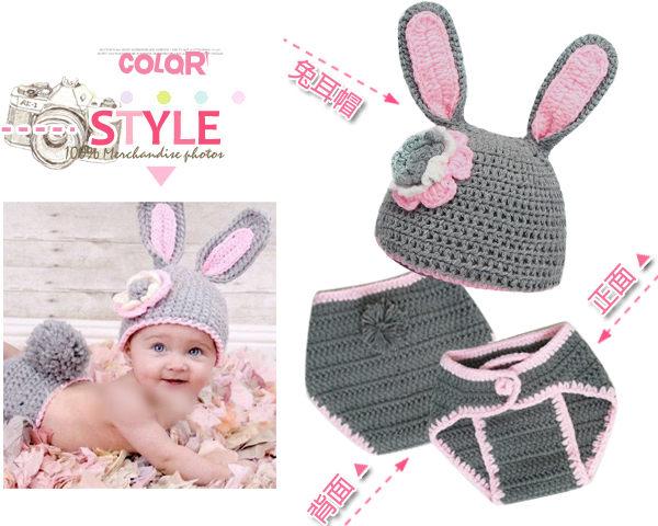 手工毛線針織花朵灰色兔耳帽+毛線包屁褲套裝/寶寶造型帽