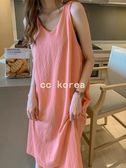 簡約後背蝴蝶結腰帶無袖洋裝 CC KOREA ~ Q23586