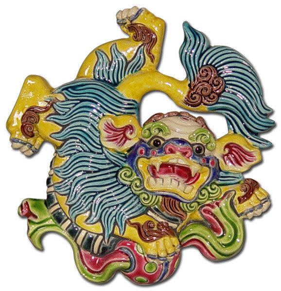 鹿港窯-居家開運商品-台灣國寶交趾陶裝飾壁飾-立體框【S 祥獅獻瑞】