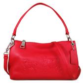 COACH 大馬車壓印LOGO 荔枝紋皮革 肩背包 斜背包 兩用包(紅色)-33521